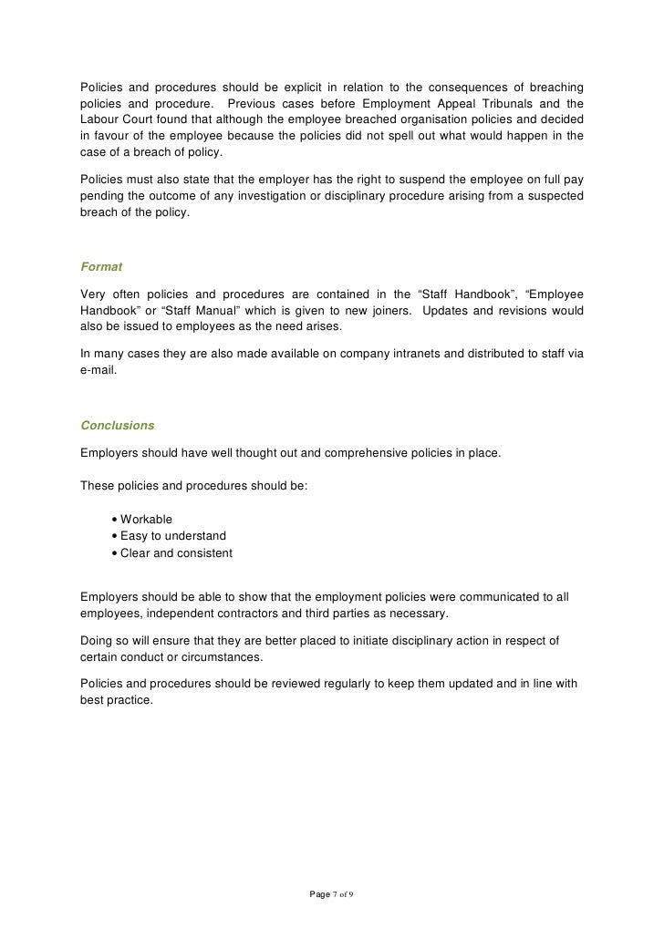 Employee handbook consequences of breaching policies page 6 of 9 7 altavistaventures Gallery