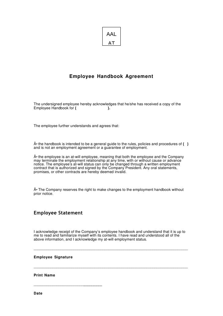 employee handbook agreement