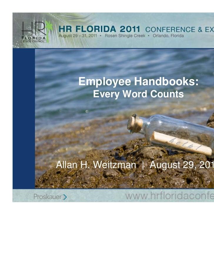 Employee Handbooks:       Every Word Counts                       hel                           p!Allan H. Weitzman | Augu...