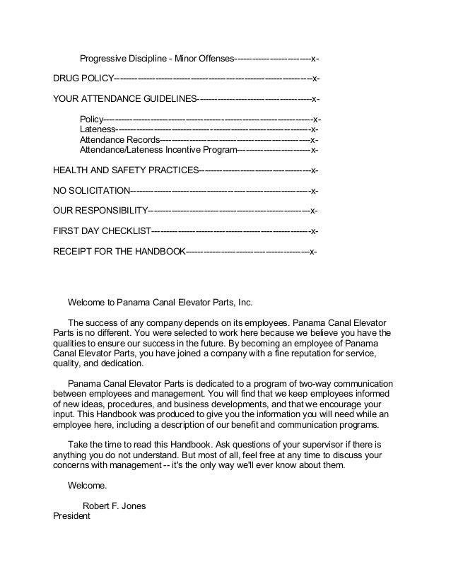 Attendance Policy Template Sample Screenshots Employee Handbook