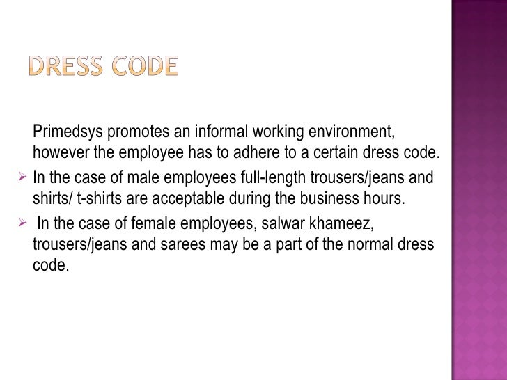 Dress codes in the workplace examples work