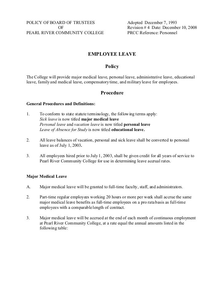 POLICY OF BOARD OF TRUSTEES                                Adopted December 7, 1993             OF                        ...