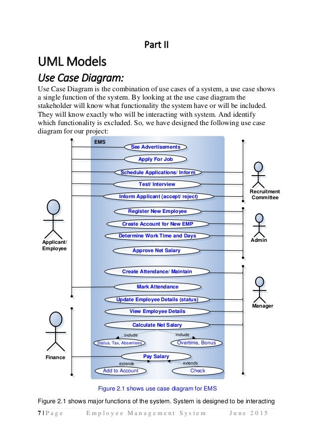 Employee management system uml diagrams use case diagram activity di 6lpage employee management system june 2015 8 part ii uml ccuart Image collections