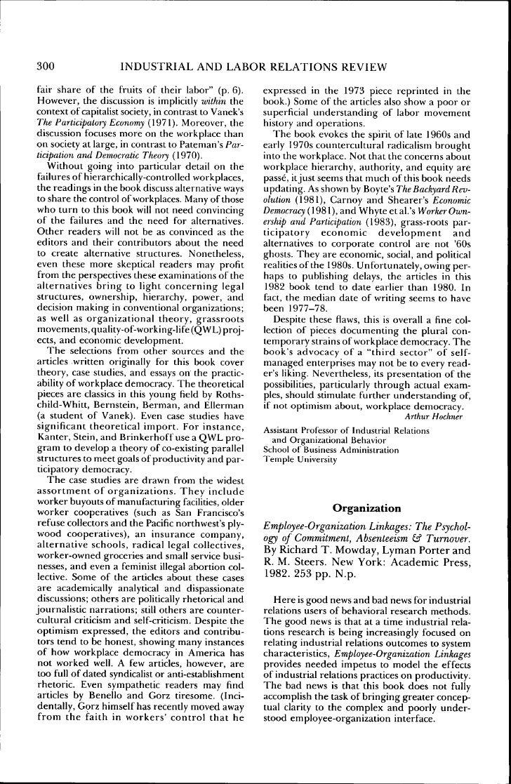 300                  INDUSTRIAL AND LABOR RELATIONS REVIEW fair share of the fruits of their laborquot; (p. 6).        exp...