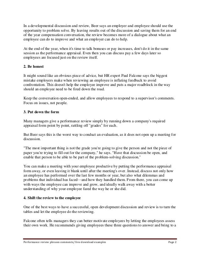 employee performance appraisal phrases