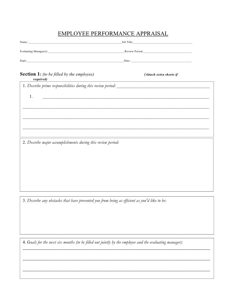 Employee Performance Evaluation Form  MayotteOccasionsCo