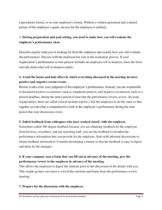 Employee performance evaluation phrases