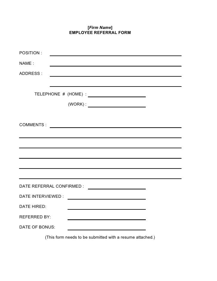Employee referral form for Referral document template