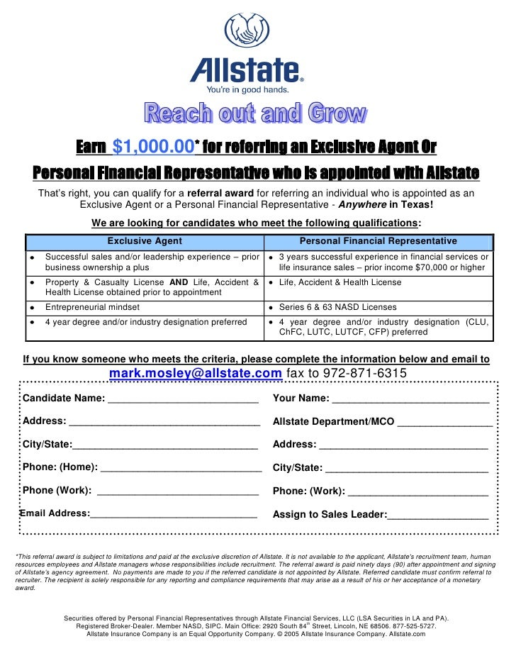 Wonderful Employee Referral Form $1000 All. Earn $1,000.00* For Referring An  Exclusive Agent Or Personal Financial Representative Who Is Appointed With