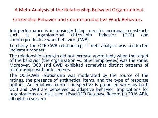 Organisational behaviour ocb and cwb