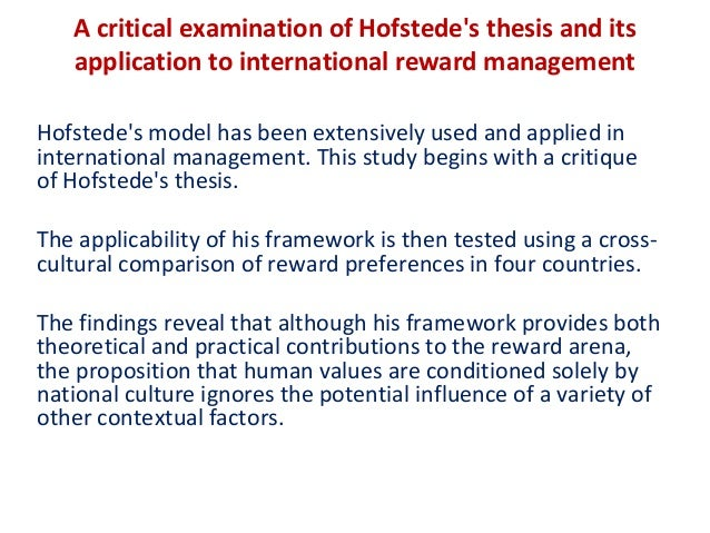 a critical examination of hofstedes thesis 1 jesus and the ethic of love: a critical examination of a new covenant in this thesis i would like to examine and identify the most important fundamental.