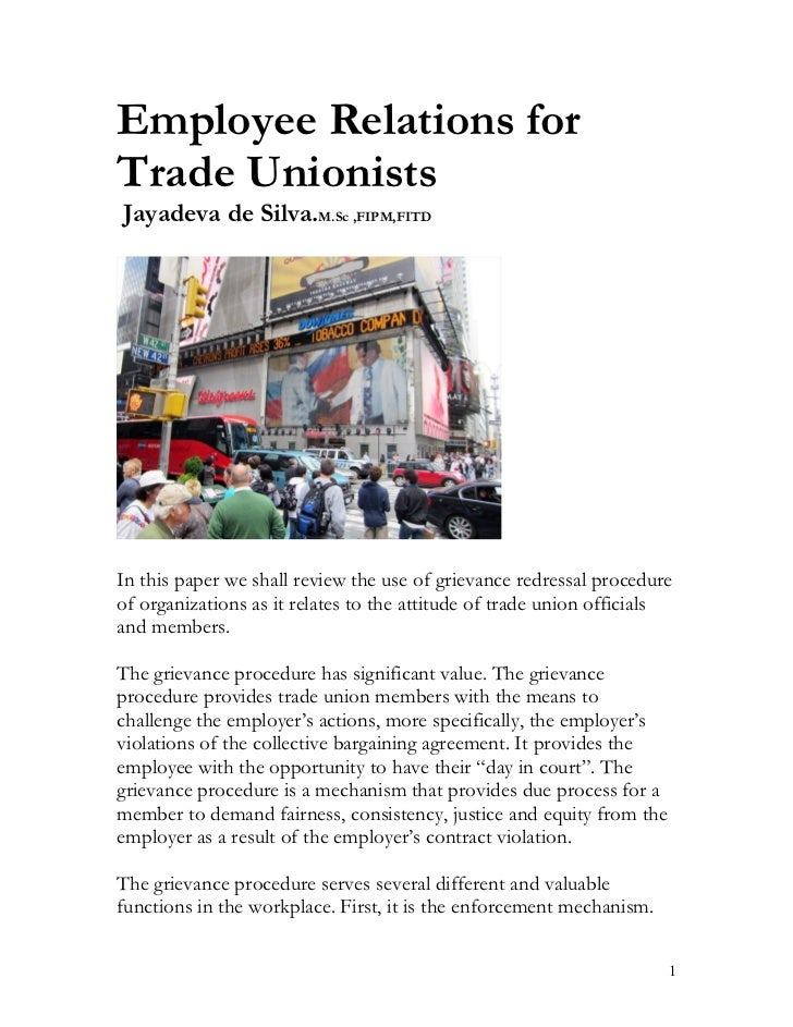 Employee relations for trade unionists