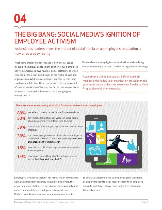 04  THE BIG BANG: SOCIAL MEDIA'S IGNITION OF  EMPLOYEE ACTIVISM  Employees are sharing socially. For many, the divide betw...