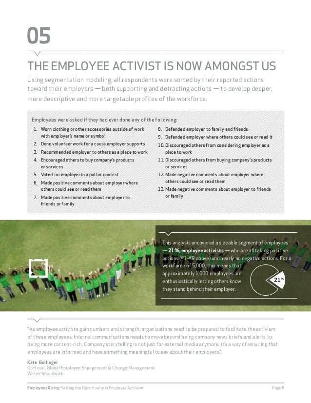 """05  THE EMPLOYEE ACTIVIST IS NOW AMONGST US  """"As employee activists gain numbers and strength, organizations need to be pr..."""