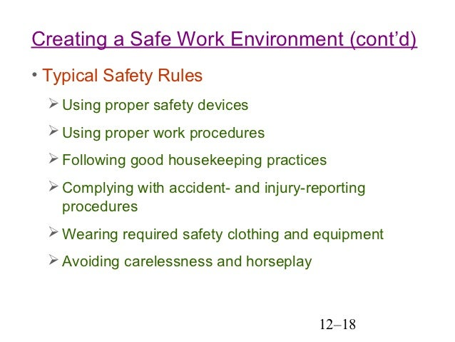 essay on safe and healthy working environment Free work environment of these concepts and the impact of failure to provide a healthy, safe and secure work environment and environment essay.