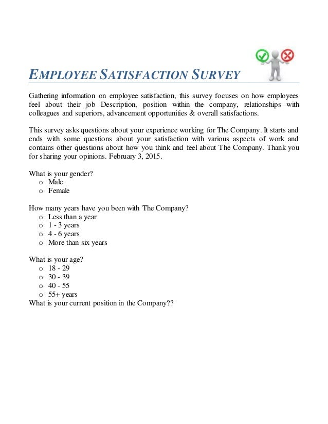 Employee Satisfaction Survey Questionnaire