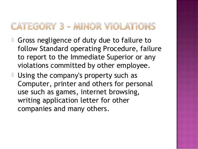 Gross Negligence Damage To Company Property