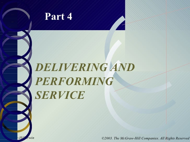 Part 4 DELIVERING AND PERFORMING SERVICE