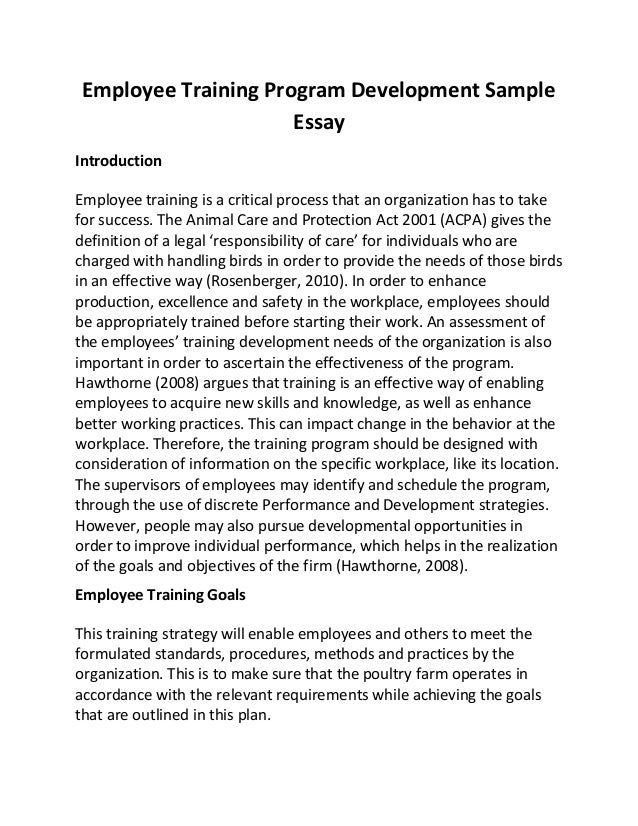 employee training program development sample essay employee training program development sample essay introduction employee training is a critical process that an organizati