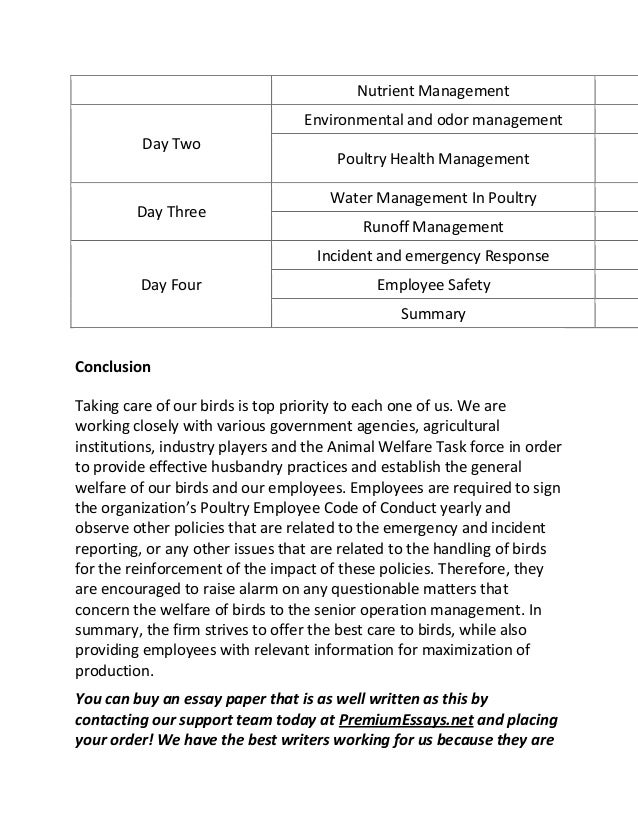 employee training program development sample essay  poultry management 13