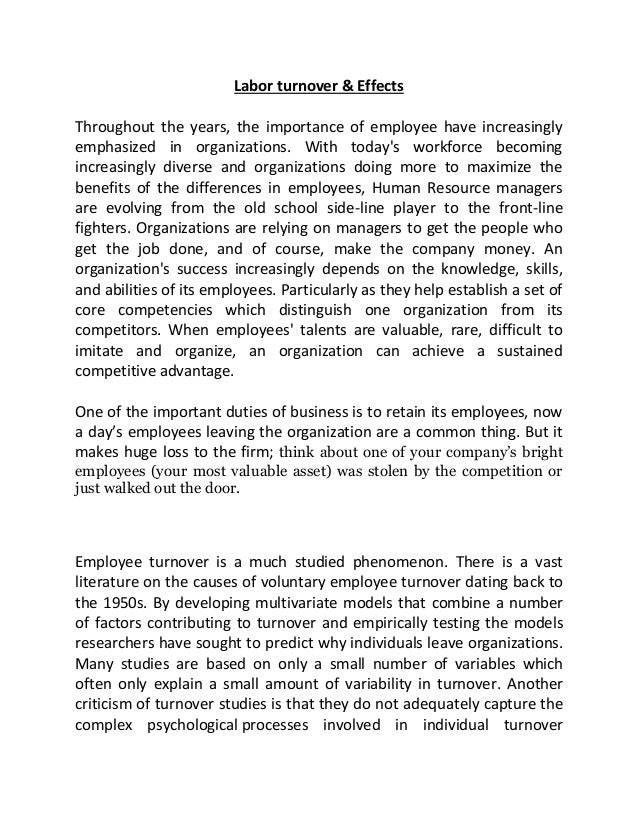 employee turnover and its effect on