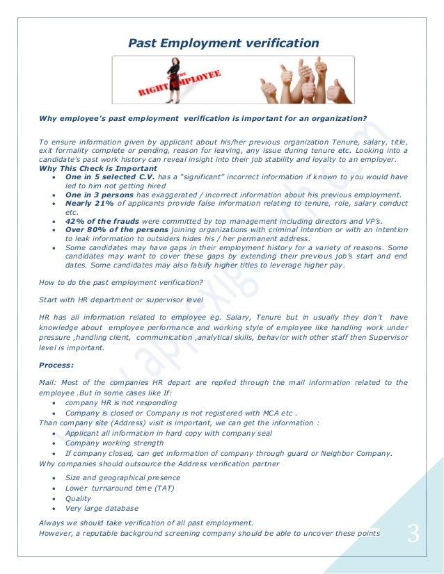 prior employment verification