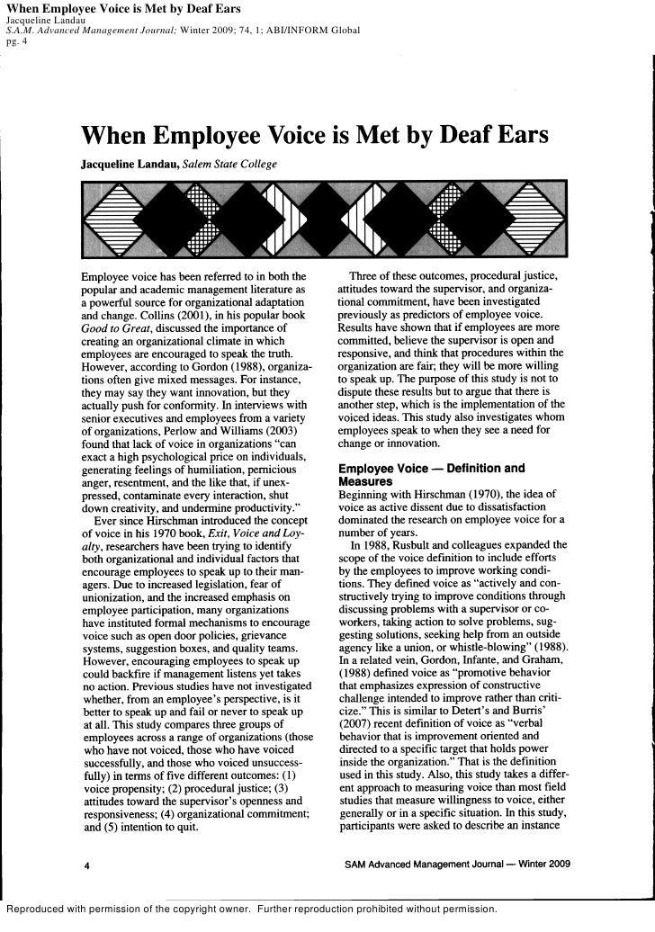 When Employee Voice is Met by Deaf Ears Jacqueline Landau S.A.M. Advanced Management Journal; Winter 2009; 74, 1; ABI/INFO...