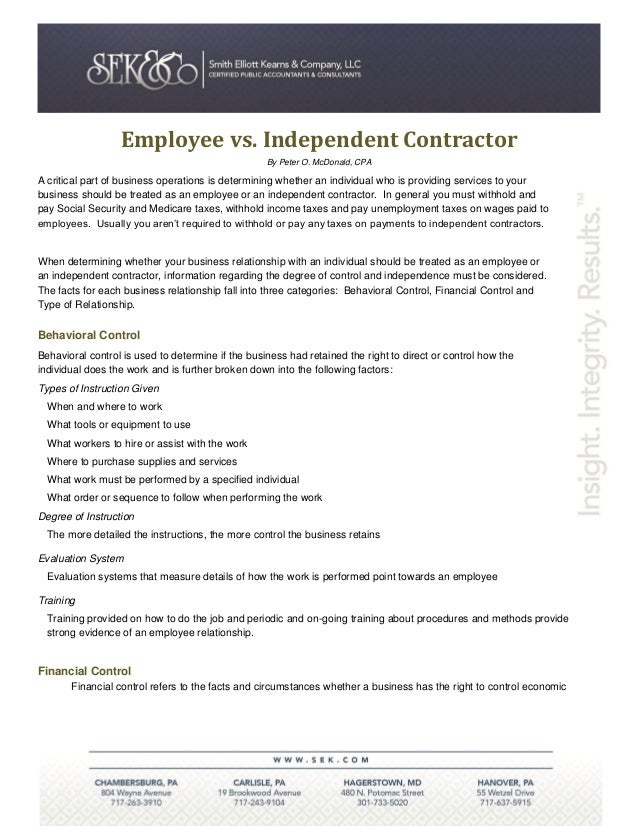 Employee vs. Independent Contractor                                                   By Peter O. McDonald, CPAA critical ...