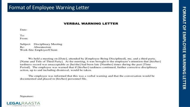 Warning letter for employee roho4senses warning letter for employee altavistaventures Choice Image