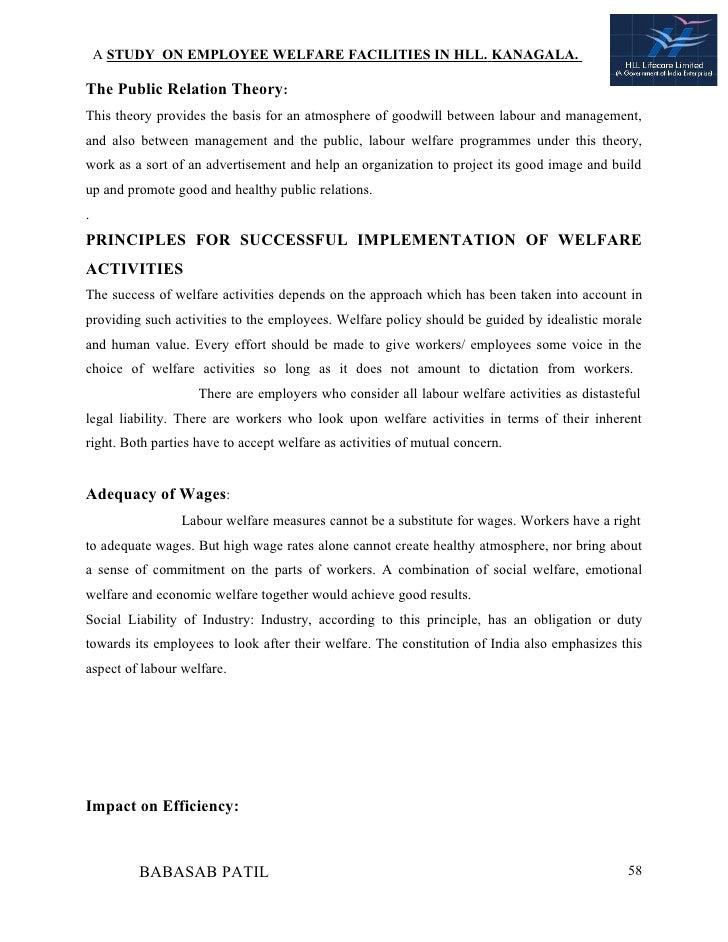 Employee welfare facilities