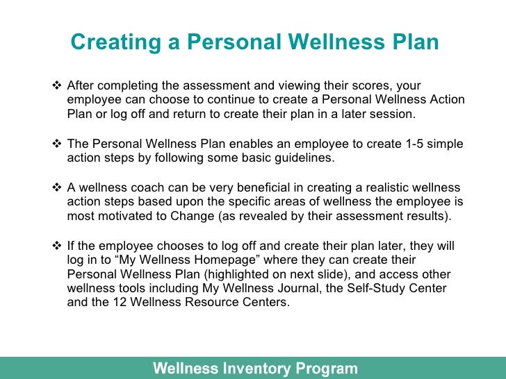 Wellness inventory for employee wellness for Personal wellness plan template