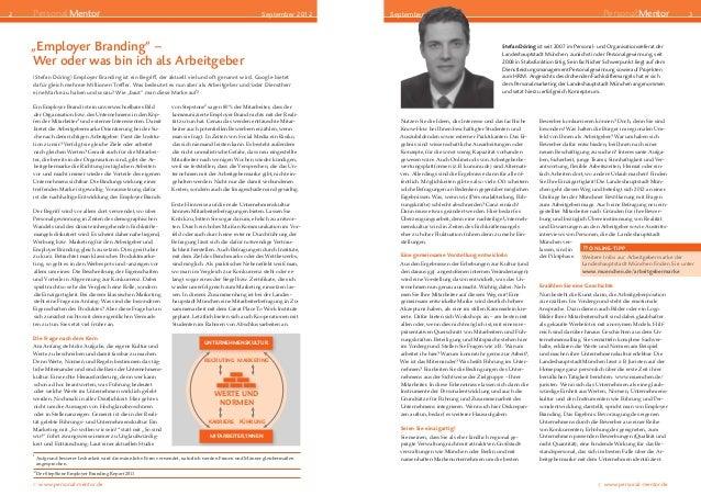 "2  PersonalMentor  September 2012  September 2012   ""Employer Branding"" – Wer oder was bin ich als Arbeitgeber  Der Beg..."