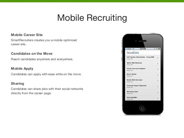 Mobile Career Site SmartRecruiters creates you a mobile optimized career site.   Candidates on the Move Reach candidates a...