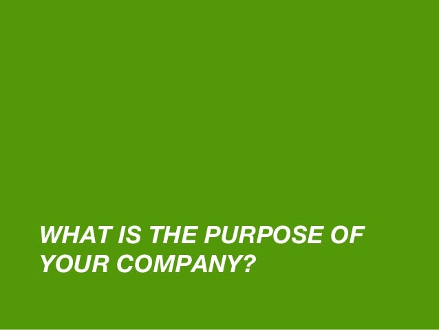 WHAT IS THE PURPOSE OF YOUR COMPANY?