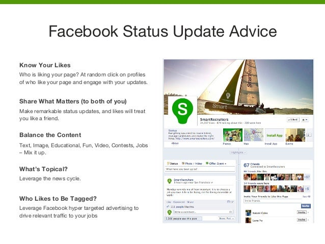Know Your Likes Who is liking your page? At random click on profiles of who like your page and engage with your updates.  S...