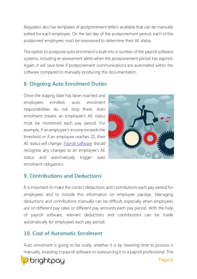 Employer checklist to ensure auto enrolment is covered the pensions 7 page 6 regulator also has templates of postponement letters spiritdancerdesigns Choice Image