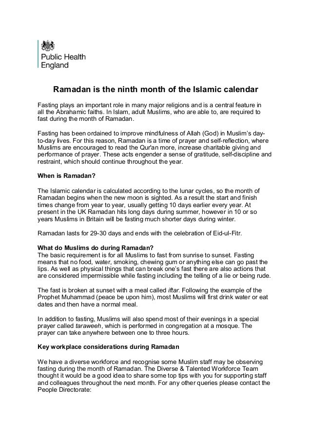 Ramadan is the ninth month of the Islamic calendar Fasting plays an important role in many major religions and is a centra...