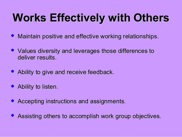 working effectively with others