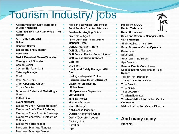 jobs within the tourism industry essay Introduction the importance of tourism and hospitality employment in both  developed and developing countries is attested to by the world travel and.
