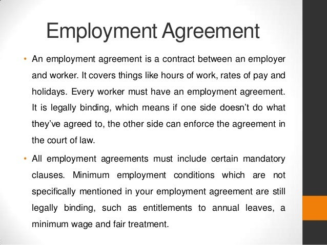 employment agreement an employment agreement is a contract between an employer