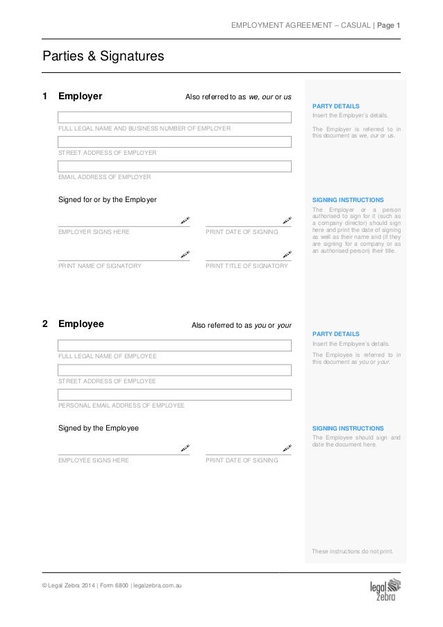 Casual Employment Agreement Template  Sample
