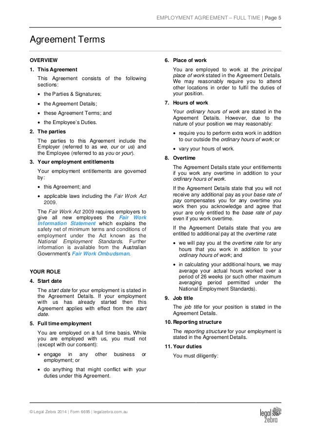 Full Time Employment Agreement Template  Sample