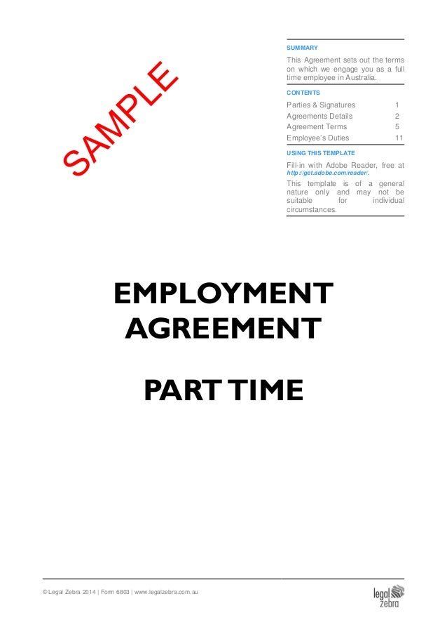 Part Time Employment Agreement Template Sample
