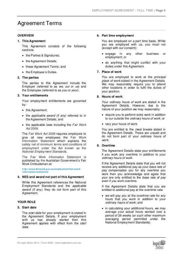 Part time employment agreement template sample for Full time employment contract template