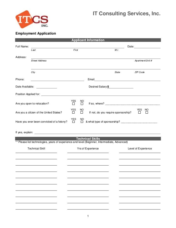 IT Consulting Services, Inc.Employment Application                                              Applicant InformationFull ...