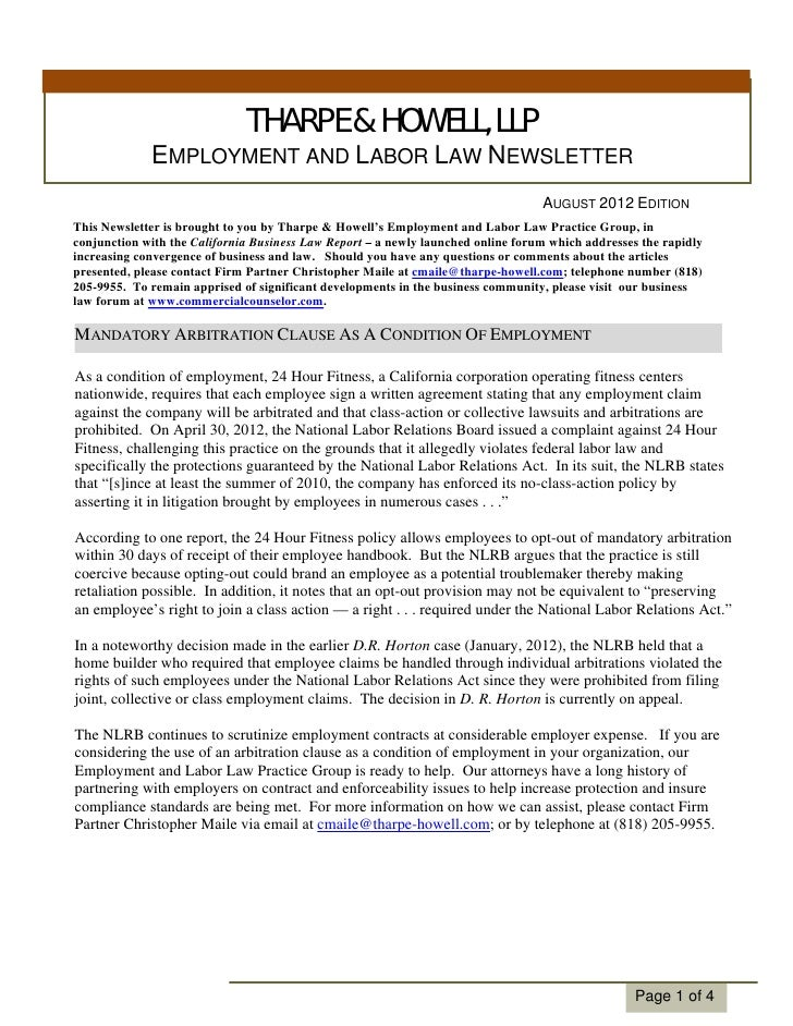 THARPE & HOWELL, LLP             EMPLOYMENT AND LABOR LAW NEWSLETTER                                                      ...