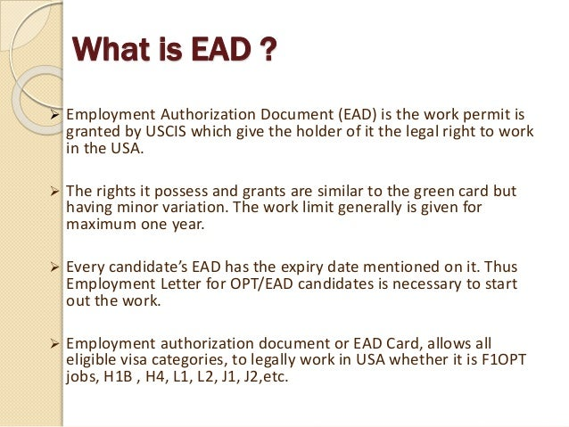 What Is Ead  Work Permit In Usa