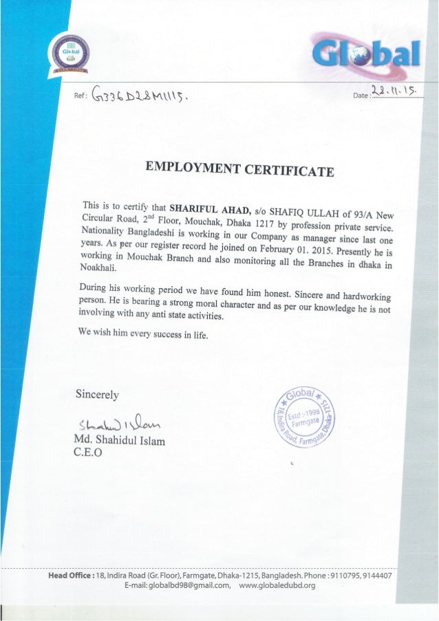 6 ~ He /5 We Ref: L U0027 EMPLOYMENT CERTIFICATE This Is To Certify ...  Monthly Salary Statement