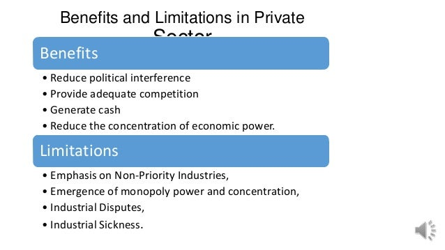 Benefits and Limitations in Private Sector Benefits • Reduce political interference • Provide adequate competition • Gener...