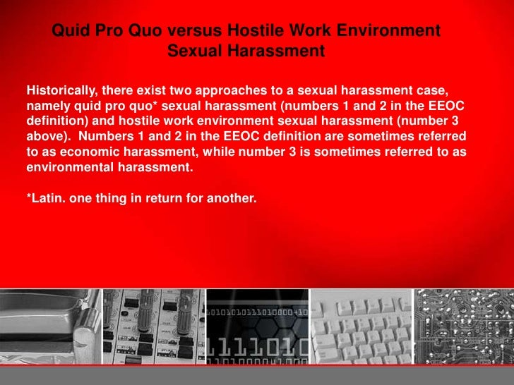 Legal definition of sexual harassment quid pro quo harassment